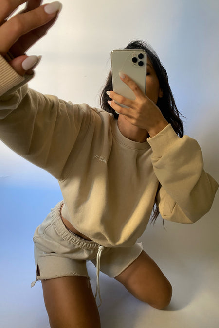 Notched Cropped Sweatshirt
