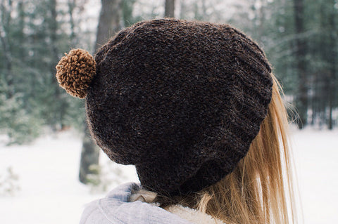 Drea Renee knits The 100 Stitch Slouch Hat