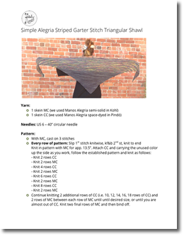 Striped Garter Stitch Triangular Shawl Digital Pattern Hardcopy only