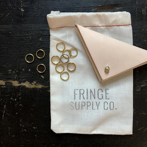 Fringe Supply Leather and brass stitch markers set