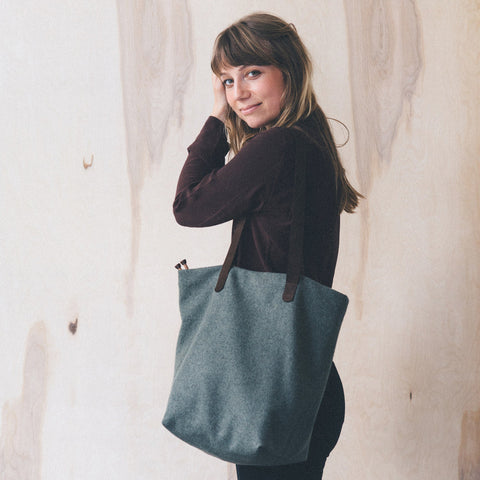 quince & co. - twig & horn wool project tote