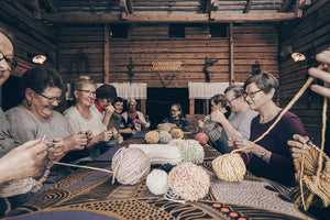 The hat farm comes from the countryside of Southwest Finland. Wool hats, scarves and tufts of Finnish sheep's organic wool. Knitted by grandmothers.
