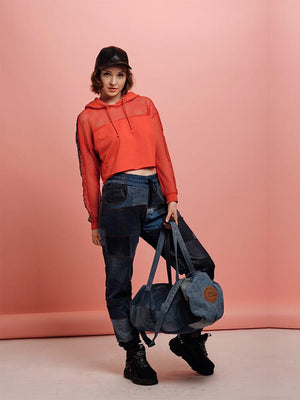 Piece of Jean jeans and denim bags from recycled jeans