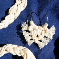 Macrame earrings made of recycled cotton