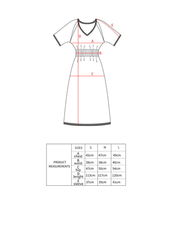 TAUKO Hue dress dimensions