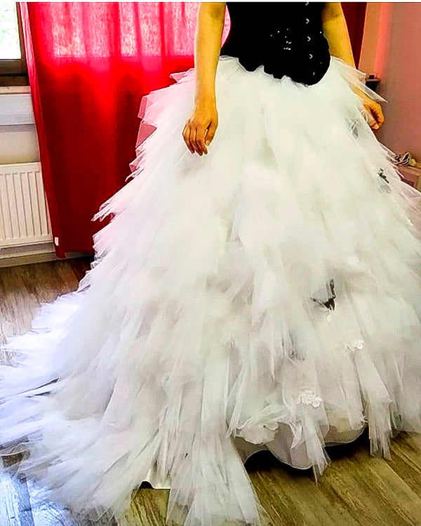 Wedding dress modification work in a sewing shop