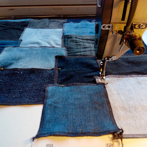 Patchwork used jeans