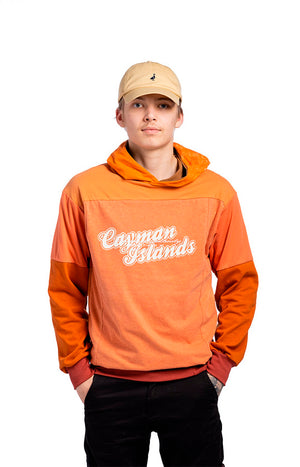 Orange unisex hoodie made of recycled materials.
