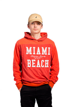 Red unisex hoodie. Made from recycled materials.