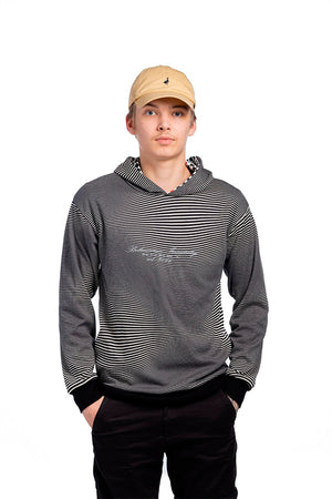 Striped hoodie unisex model. Ecologically made from recycled materials.