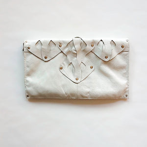 Decorative leather clutch, handmade
