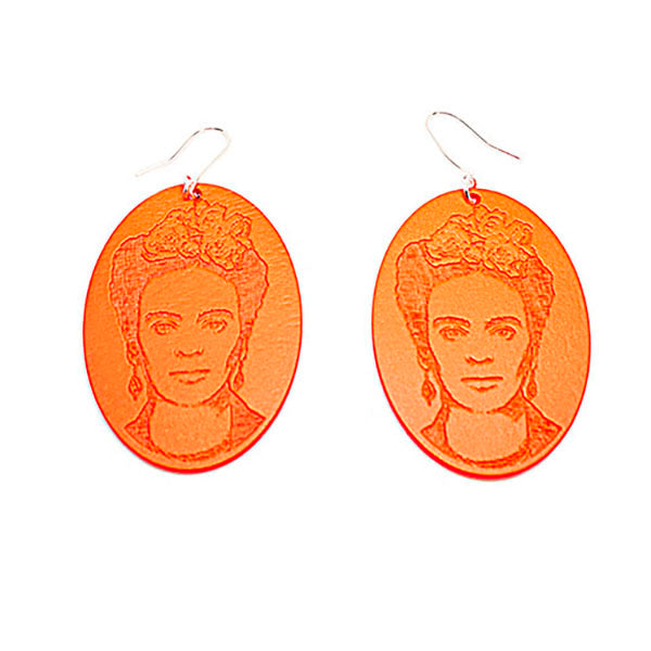 Frida Kahlo earrings, neon orange. Kajoan Desig. Birch Plywood.