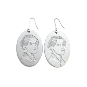 Helene Schjerfbeck Earrings. Kajoan Design. silver birch plywood.