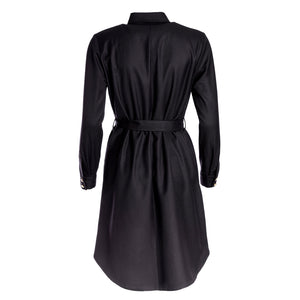 black shirt dress made of recycled material