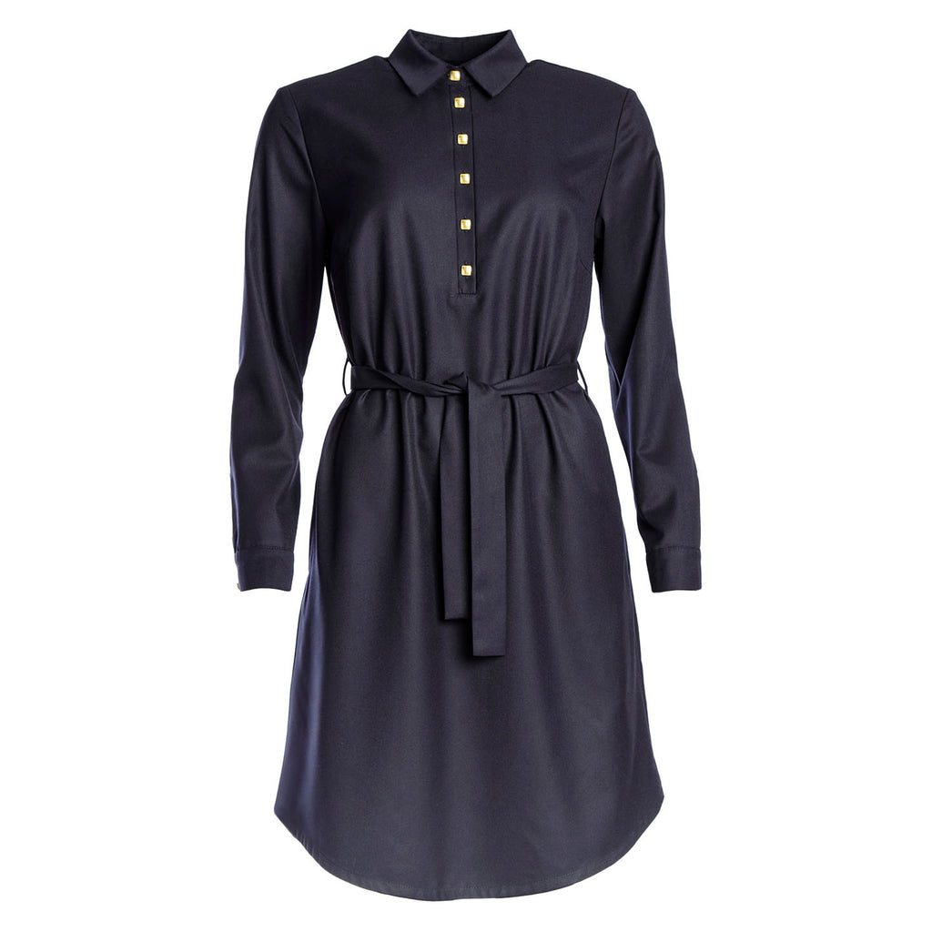 dark blue shirt dress
