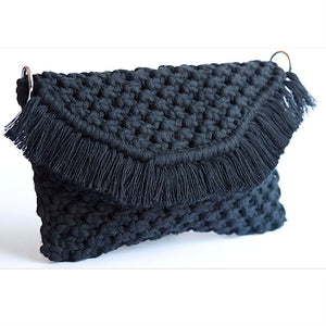 Black macrame bag made of recycled cotton