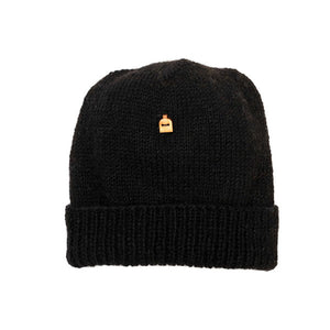 Black beanie 100% organic wool Hat Farm