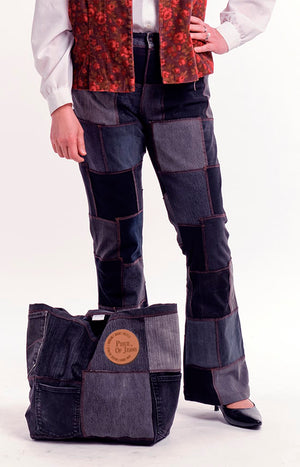 Spacious durable bag made of jeans. Made from recycled jeans. Piece of Jeans logo on the front.