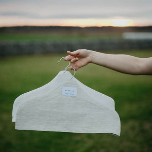 Linen hanger covers for clothing storage.