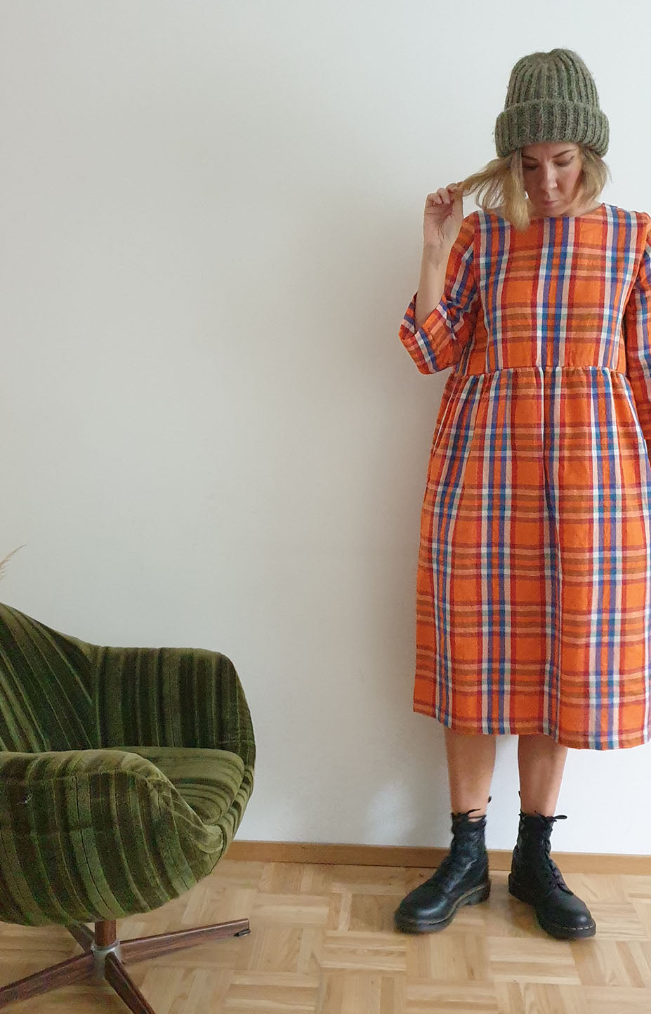 Rå Wear plaid long-sleeved dress