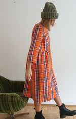 Rå Wear long-sleeved orange cotton dress