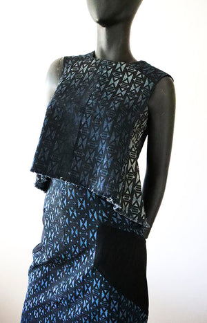 Remake Ecodesign top from recycled jeans with a print pattern