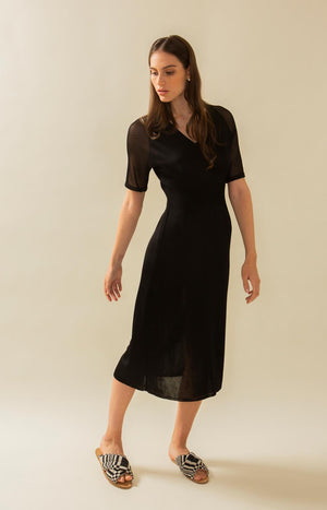 Black knitted party dress, Hue Tauko Design