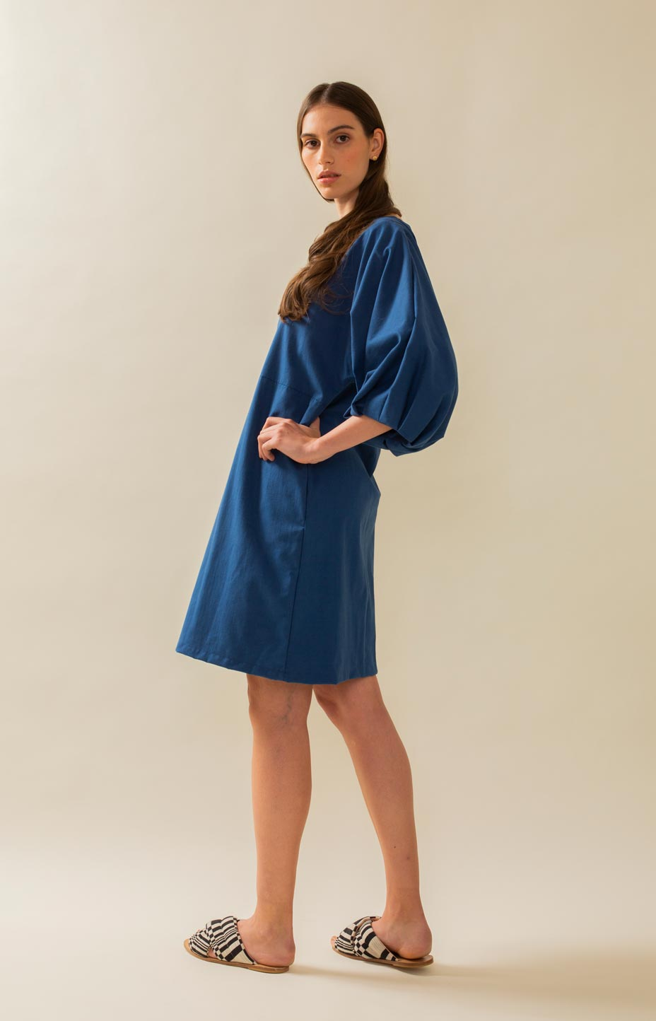 TAUKO dress with puff sleeves
