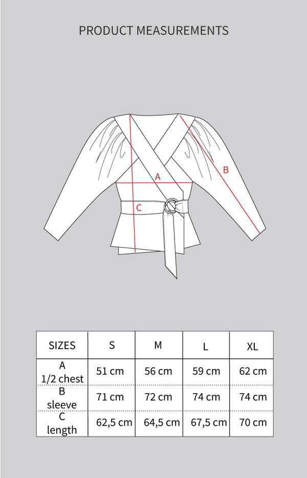 TAUKO Feel wrap shirt dimensions