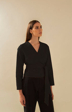 TAUKO black wrap shirt