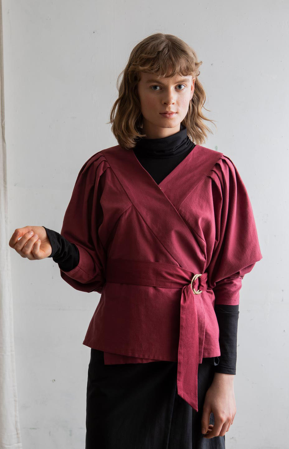 TAUKO burgundy wrap shirt Feel