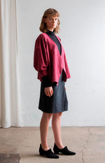 TAUKO wrap shirt 100% cotton burgundy