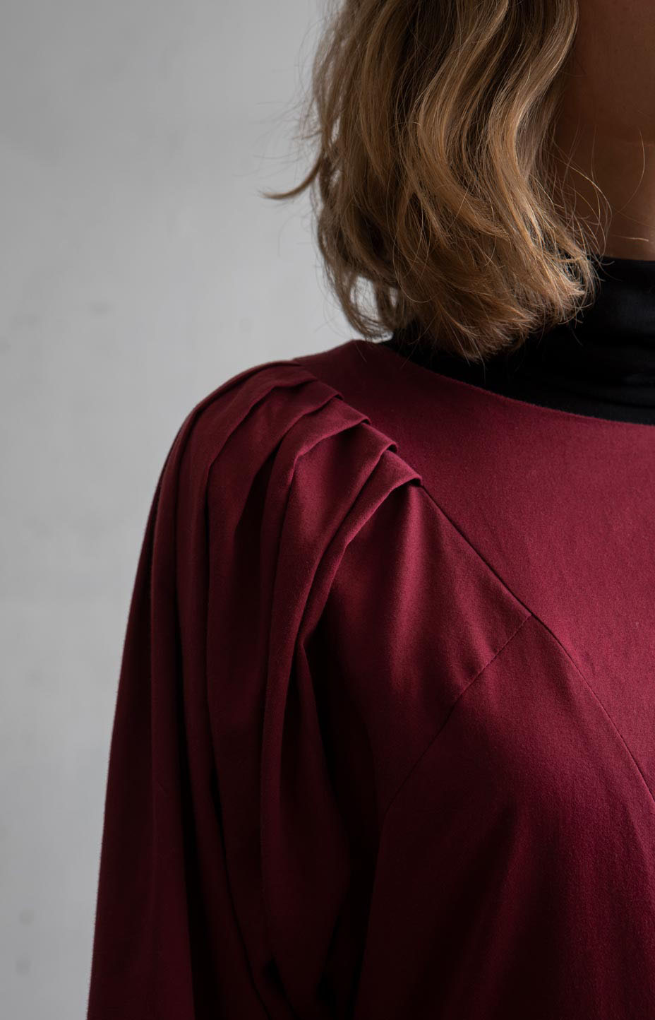 TAUKO burgundy dress in recycled cotton