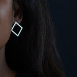 square earrings in recycled silver