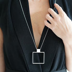 SHAPE Square Pendant Necklace. TUOHI Jewelry