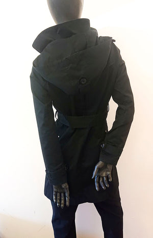 Black trench coat with hood and belt second hand