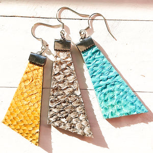 Fish leather earrings in different colors. Anette Ahok
