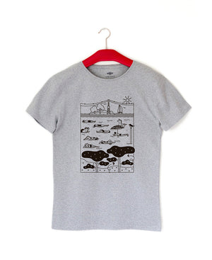Gray t-shirt made of recycled material. Pattern theme Hietsu beach Helsinki. Unisex. Pure Waste-
