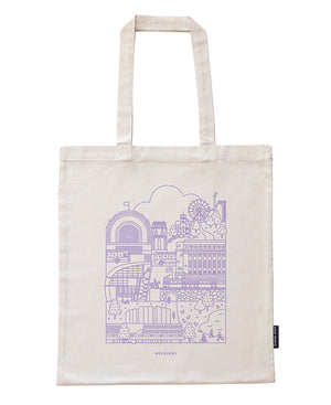 Tote bag with Helsinki pattern in lavender pattern. Recycled cotton ..