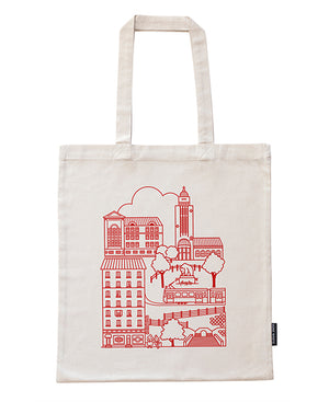 Durable bag made of recycled cotton with a rock theme
