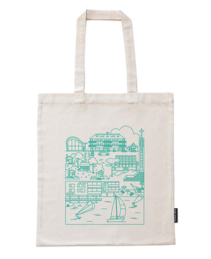 Lauttasaari canvas bag with mint green pattern. Recycled cotton.