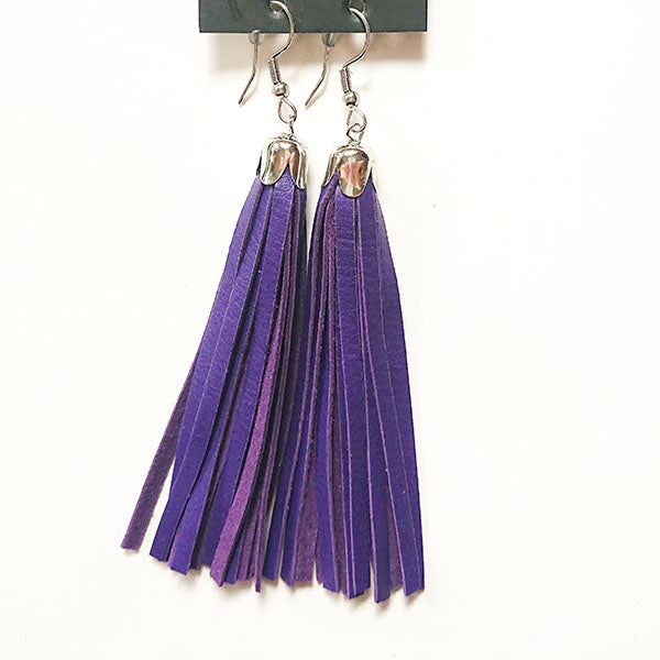 fringe earrings in Finnish reindeer leather purple