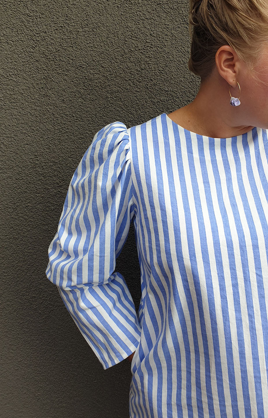 Long-sleeved dress in blue striped recycled cotton Rå Wear