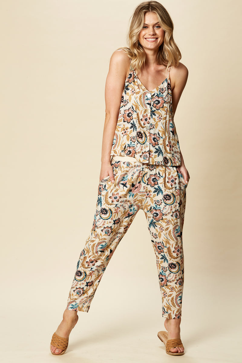 SIELA PANT IN BUFF BOTANICAL