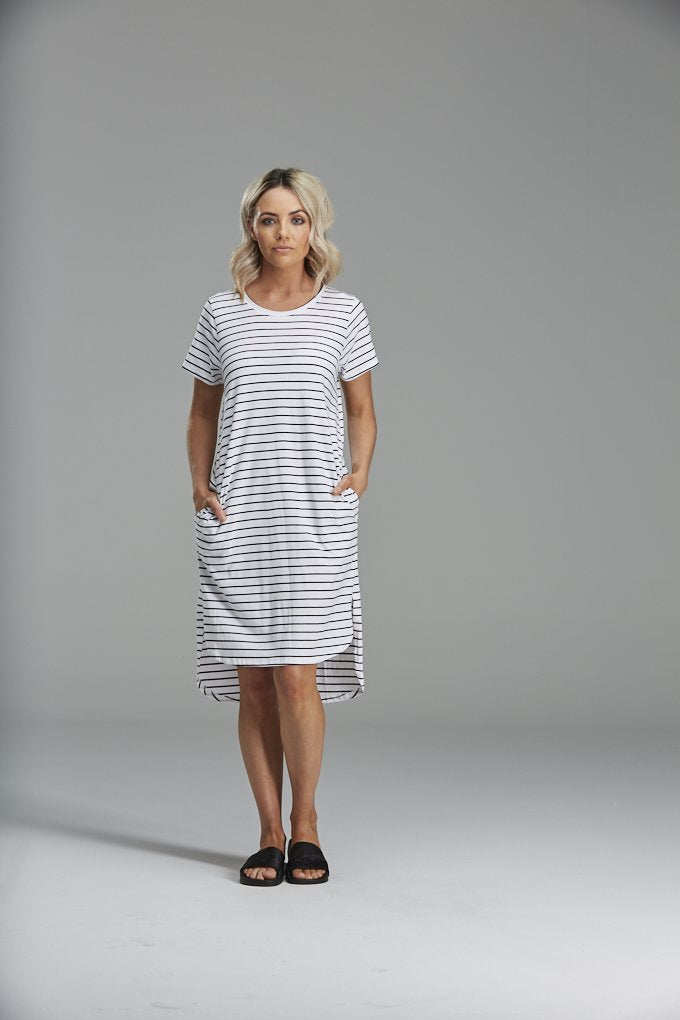 DAISY DRESS IN BLACK STRIPE