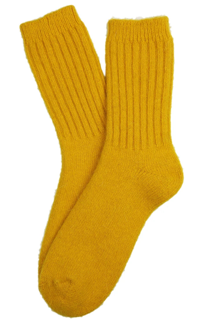 ANGORA SOCKS IN YELLOW