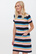 ARIANE SURF PARADISE STRIPE DRESS IN NAVY/MULTI