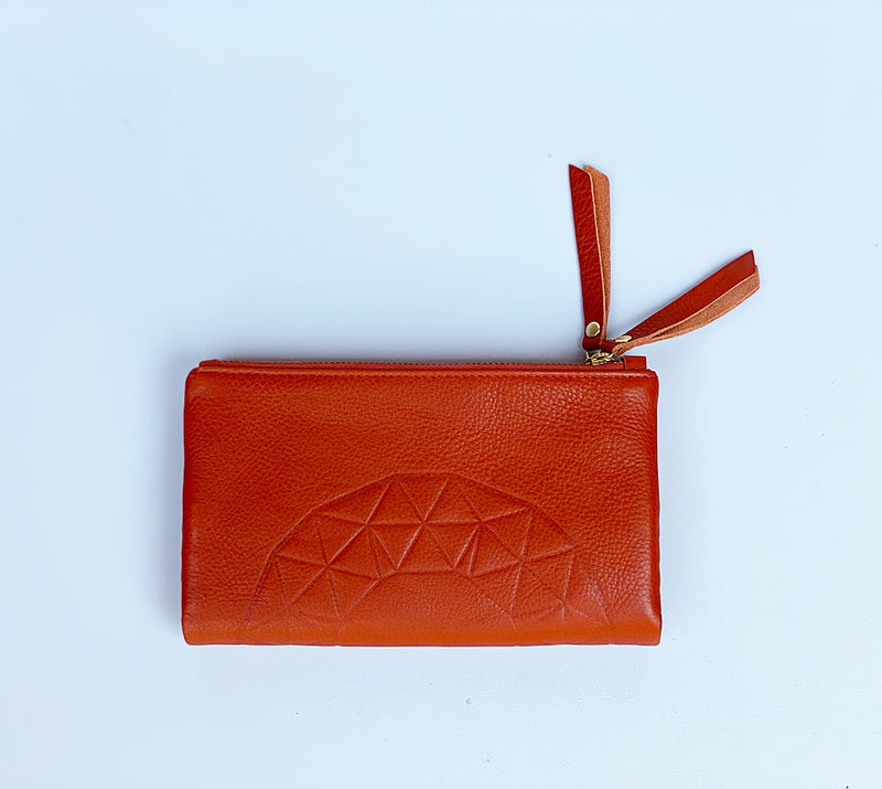 ASH EMBOSS WALLET IN BURNT ORANGE