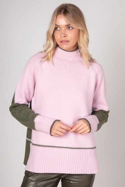 BLOCK COLOUR FUNNEL NECK IN BLOSSOM COMBO