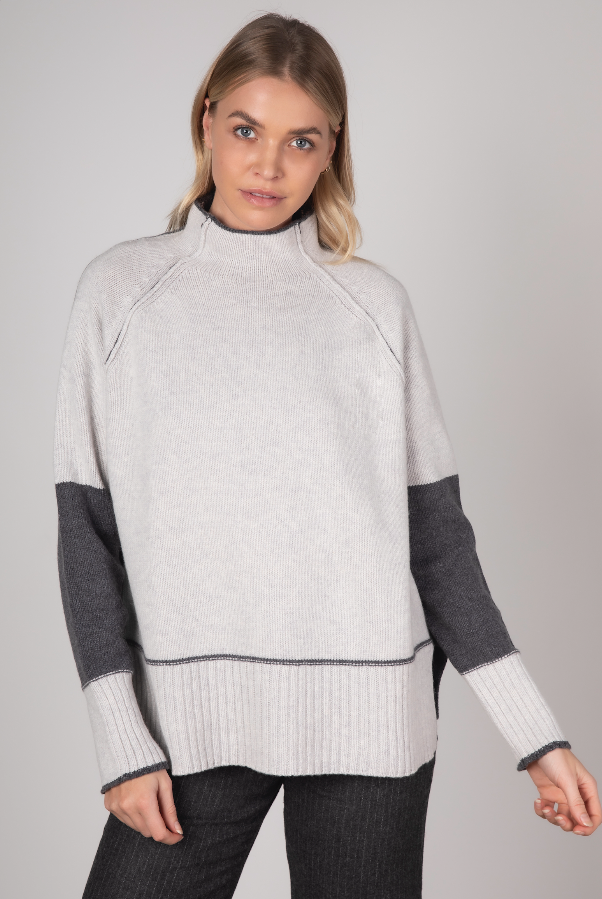BLOCK COLOUR FUNNEL NECK IN MARL COMBO